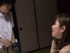 This Japanese nerd walks on, on his stepmom getting railed by his dad from behind. The parents are s