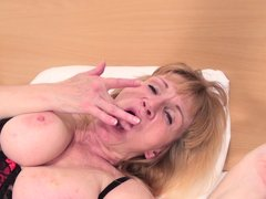 Sandra is a dirty whore, she moaned and coughed while rubbing her pussy, making it ready for some fi