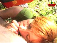 Yvonne is a sexy redhead mature that loves the outdoor, that's why when a blowjob opportunity appear