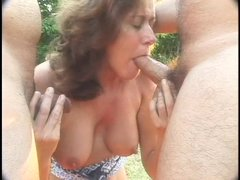 Captain Bob and his younger friend and about to have a lot of fun with slutty Donna. The whore is mo