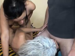 Nanny Diana and her cute brunette girl are sharing a hard cock this time. Our granny likes young cun