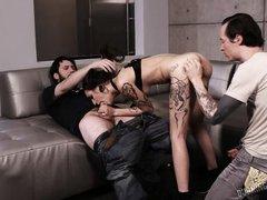 tattooed brunette luna lovely bangs in a wild threesome