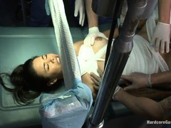 Dana Vespoli, a forty years old brunette milf is in the hospital. Wrapped in bandages, this helpless