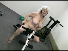 She's old, fat but still knows how to have a great time! Bohunka is naked in her exercise room and s