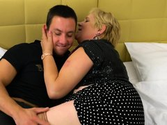 Chubby mature blonde with big boobs is about to get fucked hard, from the back