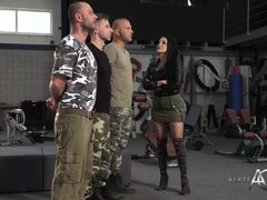 Slutty, French brunette in black fishnets, Aletta Ocean is having group sex with guys in uniforms