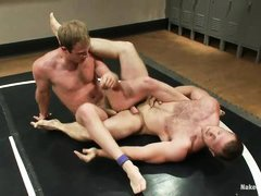 horny gay wrestlers fighting naked in the arena