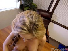 ashley blows her teacher and eats his load