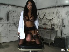 A very hot twenty five year old doctor gets horny want to fuck a patient. Look at her face as she cl