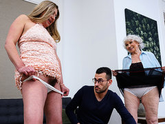 Young Stud Fucks Horny Granny And Hairy Housewife In Threesome - MatureNL