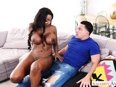 ebony milf gives a hot handjob