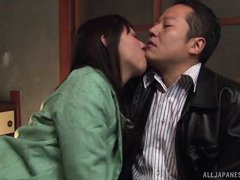40 year old Ryoko is so horny. She has her man right where she wants him. The hot mature woman climb
