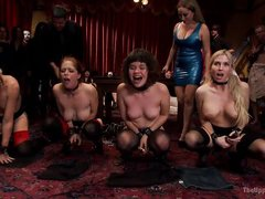 slutty slaves doing extreme performance at the party