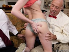 Skinny babe Alex has had enough of men her age. She wants to fuck an old geezer, or many even two of