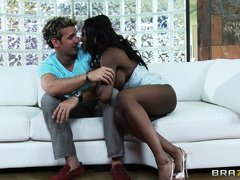 The black milf with big tits offers the guy to marry both of them. But the guy says he has to select