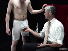 shy mormon stud gets a blowjob and a spanking