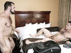 straight man rides his colleague's veiny cock