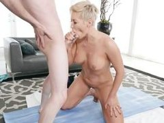 blonde milf rides cock and gets a good rubdown