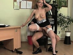 Office bitch swallows his big rod