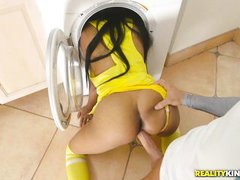 stunning ebony babe takes break from chores for white cock