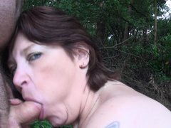 A walk in the nature end up with her sucking my cock, this chubby mature went down on her knees and