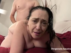 Insatiable granny, Liza was desperate for a good fuck, so she invited a younger guy over