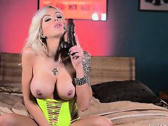 Nina Elle Solo Neon Green and Black Dildo
