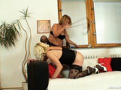 It's time for some mom action! Blonde mom whores Anastazie and Halina are up to no good. One of the