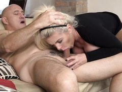 this erotic blonde milf sucks her man until he is ready to cum hard