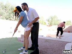 amateur milf golfer has an ass hole in one
