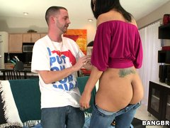 Look at this hot brunette slut Sophia Diaz sitting on a couch touching that guy making him horny. Se