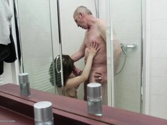 He must be about the age of her grandfather and he is surely loving the sight of her young nubile bo