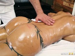 oiled threesome on the massage table