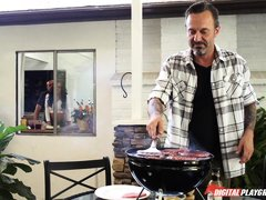 unlike him, she's grilling inside @ nice to meat you