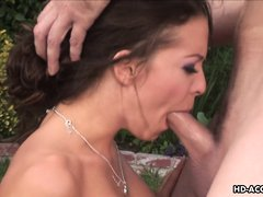 Hot mom Vanessa, is out for a romantic walk with her man, but that soon turns to sex. She sucks his