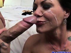 Swinging tattooed housewives facial after sex