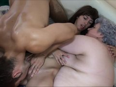 Nanny and her hot, younger chick want to have some action. Nanny Luise enters the room and finding t
