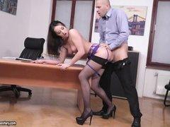 horny boss in lingerie owned on desk