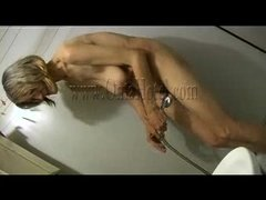 Wrinkled saggy and very old this whore is taking a shower. She moves slow and with precaution in the