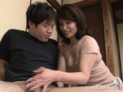 This fellow wakes up with a morning erection and he has never had one before. His step mom shows wha