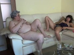 It not often to find a young babe and an old granny side by side. While this chubby granny was undre