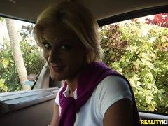 hot blonde milf gets rimmed in the car