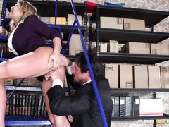 busty corinna blows dick at work