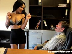 Bella is a barely legal young woman with small breasts and a very inviting mouth. She's known for a