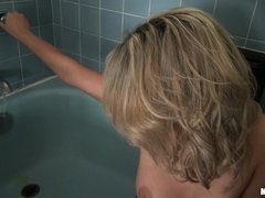 Young blonde honey Mia Malkova is in the tub, taking her panties off and preparing for a shave. She
