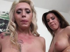 two stunning girls fuck with one lucky guy