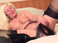 Someone found an anal plug and wants to use it! Blonde whore Marleen past her first youth but she's