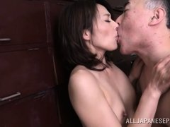 This old weirdo rips off his wife's clothes and licks her body all over. He sucks on her fingers and