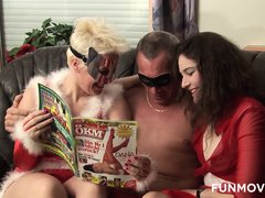 Two horny Milfs get it going for Father Xmas and his fat hard cock.