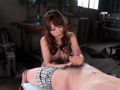 asian hottie gives a hot handjob